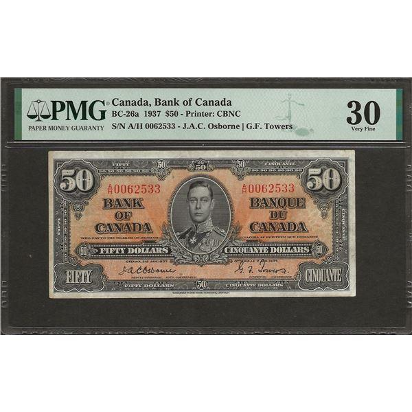 Canada BC-26a 1937 OSBORNE $50 VF30 PMG