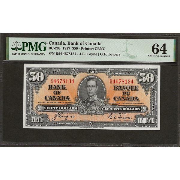 Canada BC-26c 1937 $50 CHUNC64 PMG
