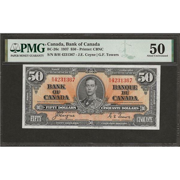 Canada BC-26c 1937 $50 AU50 PMG