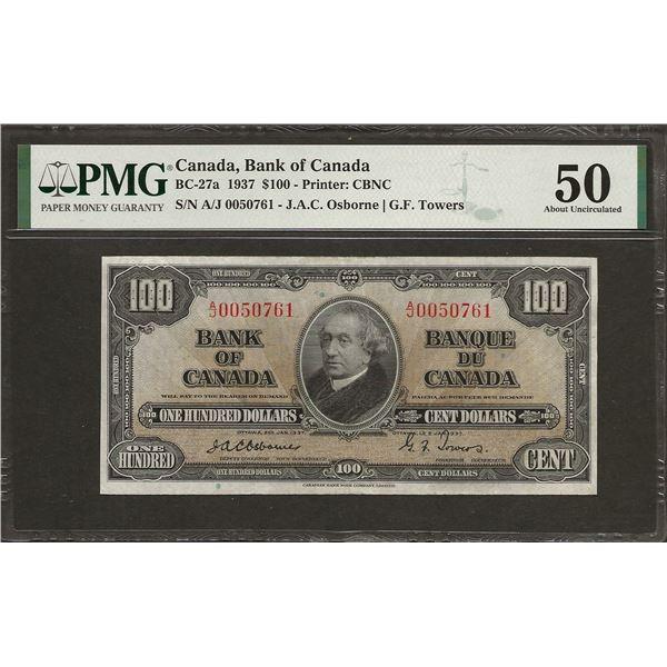 Canada BC-27a 1937 $100 OSBORNE AU50 PMG