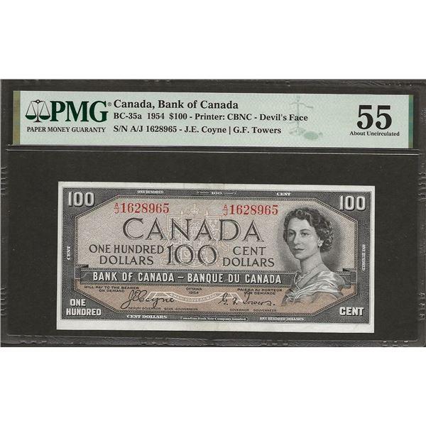 Canada BC-35a 1954 $100 Devil's Face AU55 PMG
