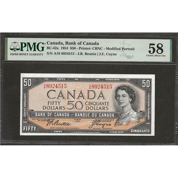 Canada BC-42a 1954 $50 AU58 PMG