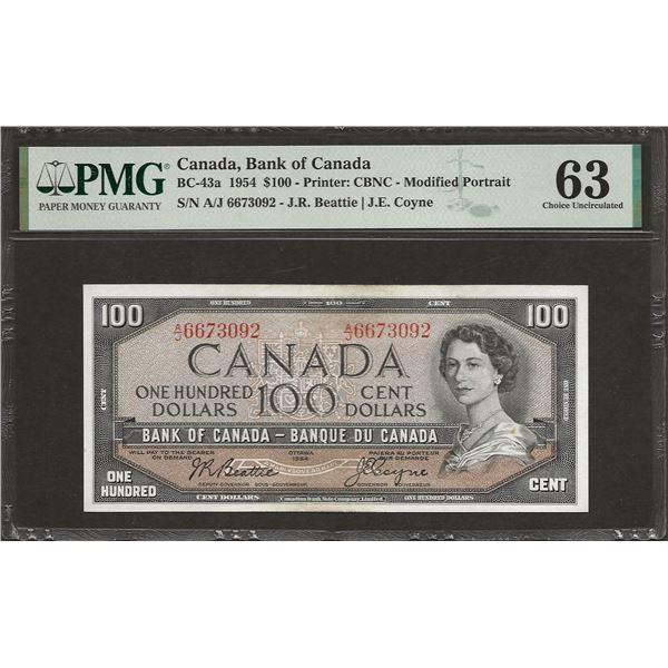 Canada BC-43a 1954 $100 CHUNC63 PMG