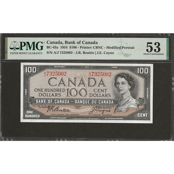 Canada BC-43a 1954 $100 AU53 PMG