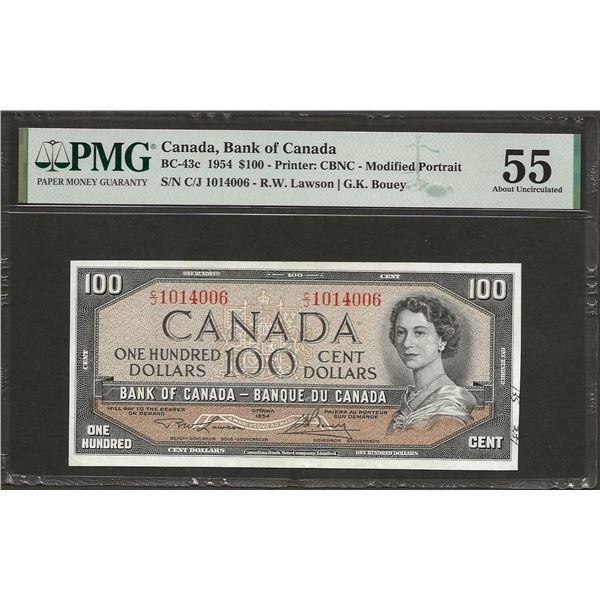 Canada BC-43c 1954 $100 AU55 PMG