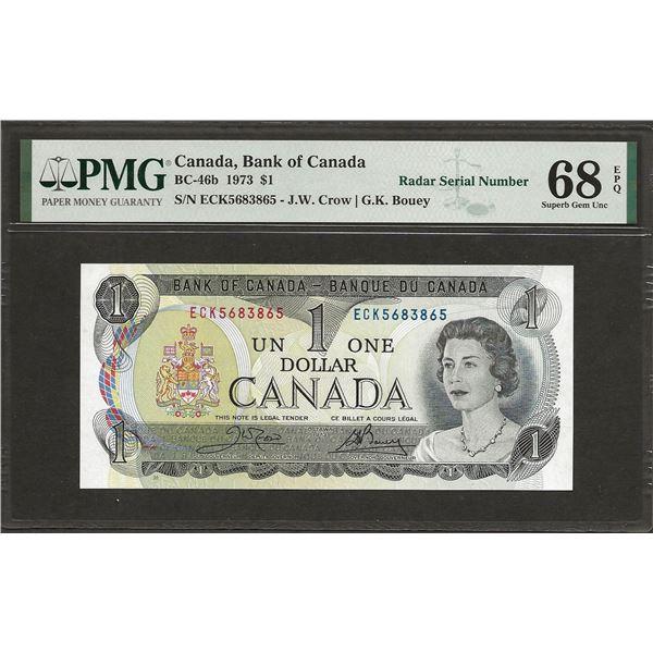 Canada BC-46b 1973 $1 RADAR SUPGEM68EPQ PMG
