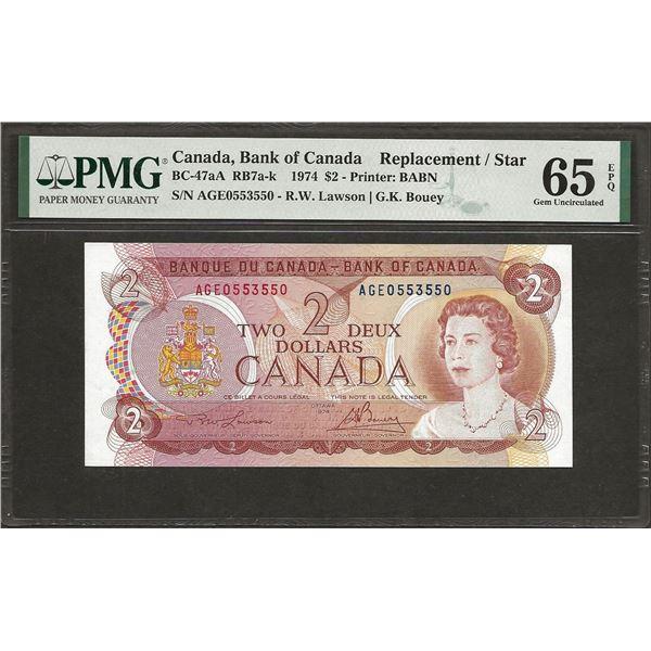 Canada BC-47a 1974 $2 RADAR GEM65EPQ PMG