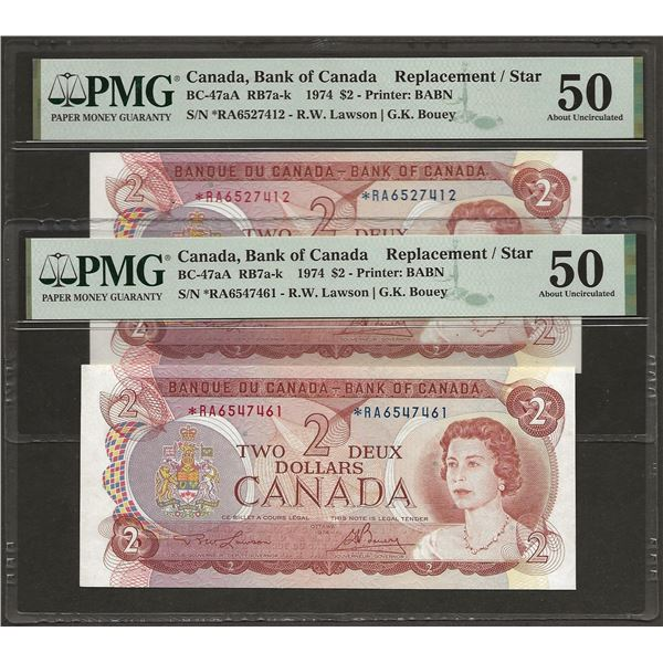 2 X Consecutive Canada BC-47aA 1974 $2 *RA REPLACEMENT AU50 PMG