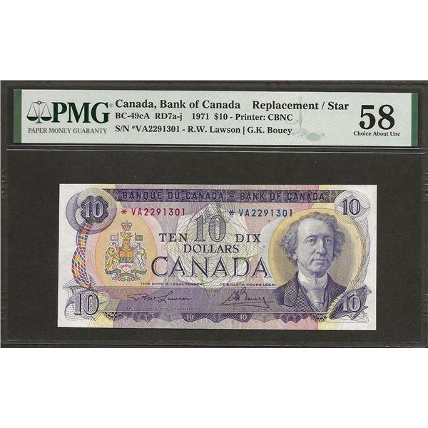 Canada BC-49cA 1971 $10 *VA Replacement AU58 PMG
