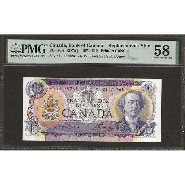 Canada BC-49cA 1971 $10 *TC Replacement AU58 PMG