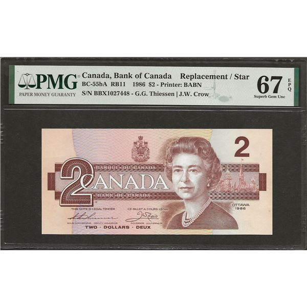 Canada BC-55bA 1986 $2 BBX Replacement SMALL B SUPGEM67EPQ PMG FINEST KNOWN