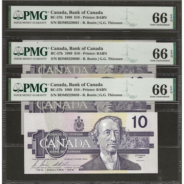 3 X CONSECUTIVE Canada BC-57b 1989 $10 GEM66EPQ PMG