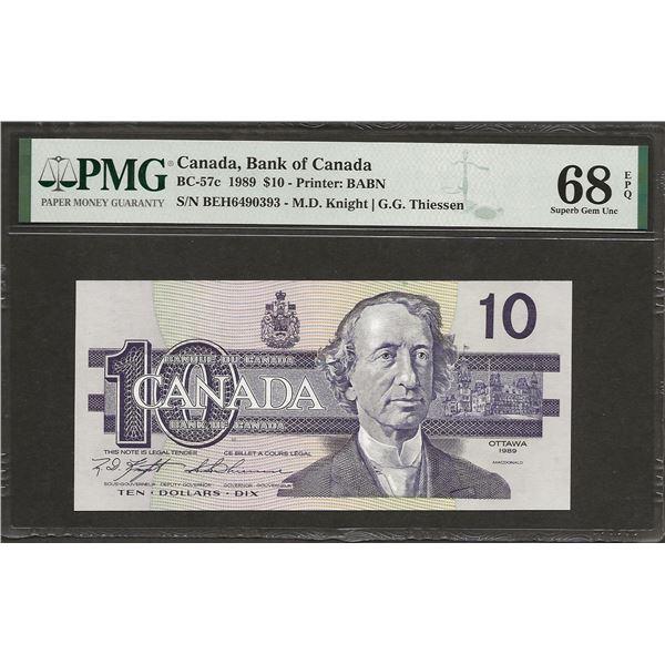 Canada BC-57c 1989 $10 BEH sheet issue SUPGEM68EPQ PMG FINEST KNOWN