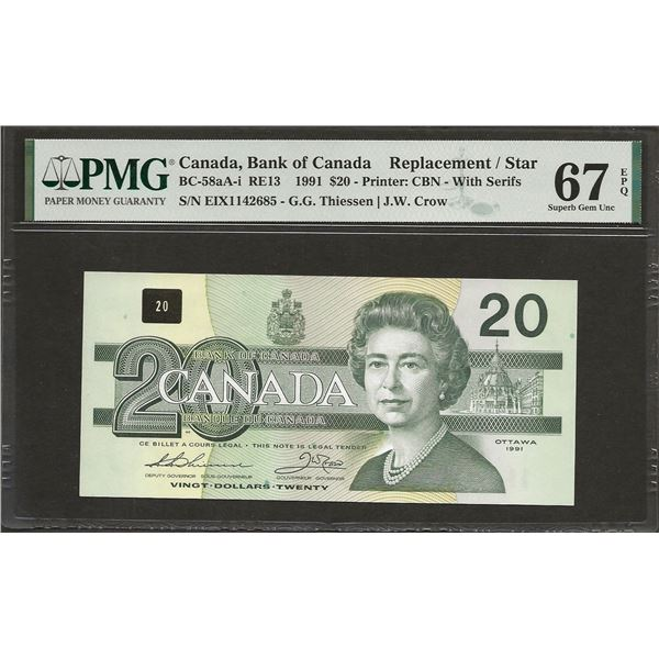 Canada BC-58aA-i 1991 $20 EIX REPLACEMENT SUPGEM67EPQ PMG FINEST KNOWN