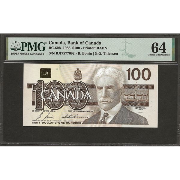 Canada BC-60b 1988 $100 CHUNC64PMG