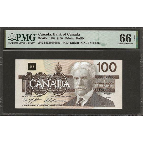 Canada BC-60c 1988 $100 GEM66EPQ PMG