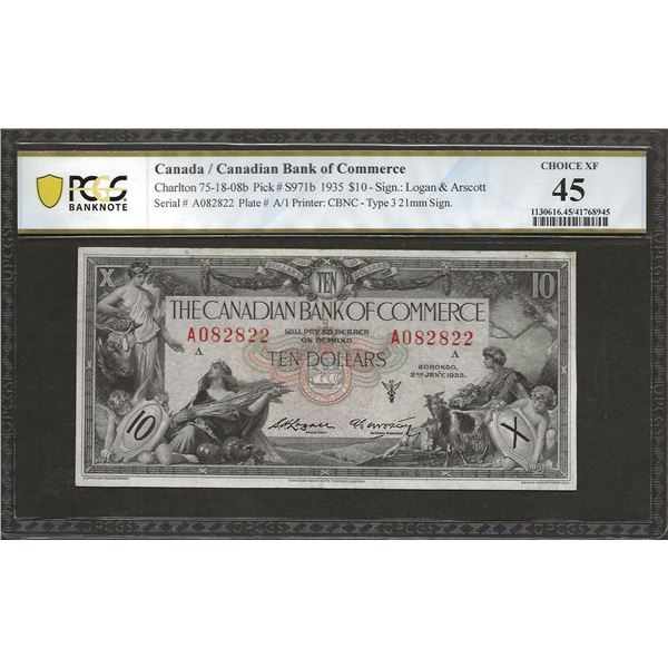 Canadian bank of commerce 75-18-08b 1935 $10 EF45 PCGS