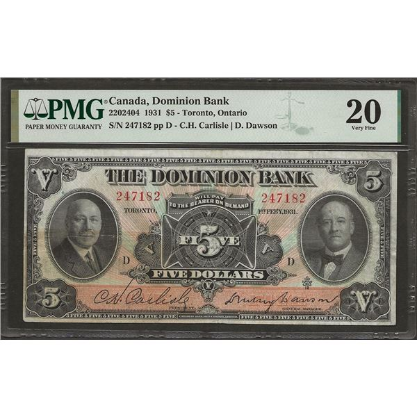 Dominion bank 220-24-04 1931 $5 VF20 (Stained-Minor) PMG