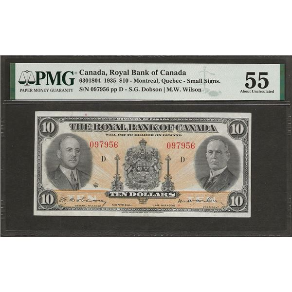 Royal bank of Canada 630-18-04 1935 $10 Small Signatures AU55 PMG