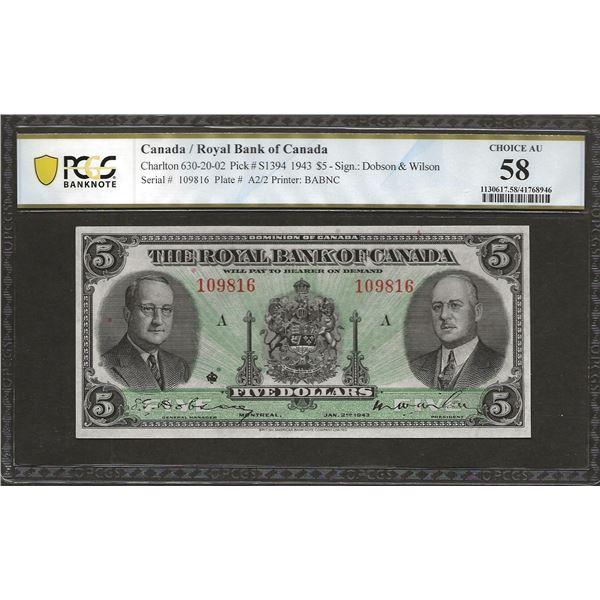 Royal bank of Canada 630-20-02 1943 $5 AU58 PCGS