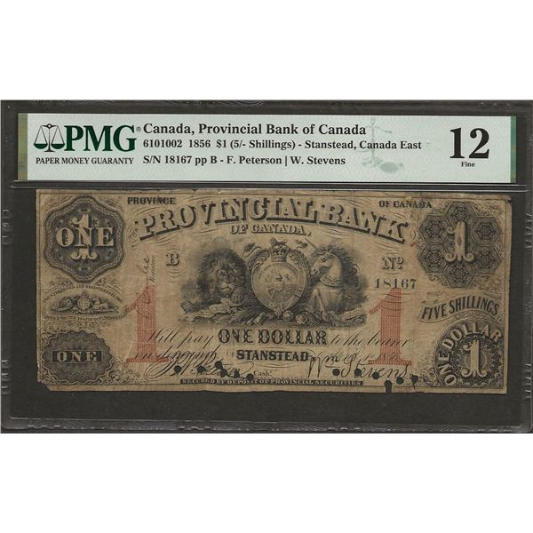 Provincial Bank of Canada 610-10-02 1856 $1 F12 Cancelled PMG