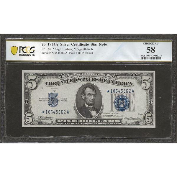 US Fr.1651 1934A Silver Certificate $5 Star Note AU58 PCGS