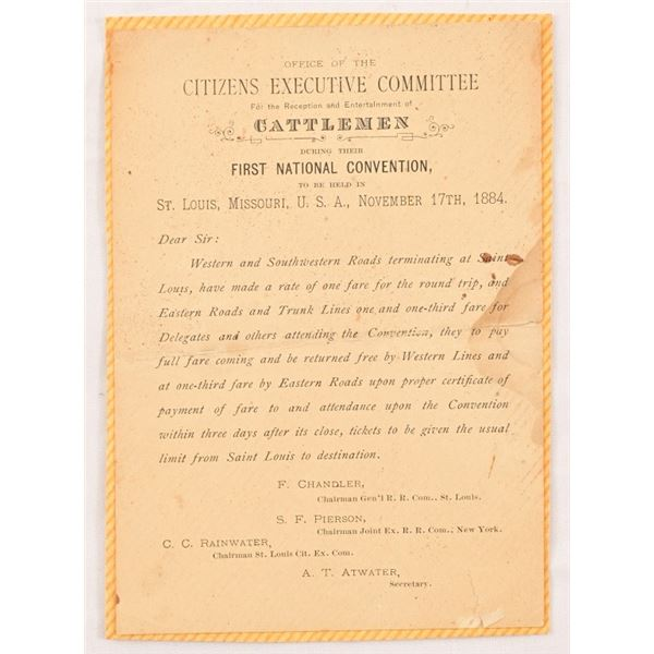 1884 National Cattlemens' Convention Invitation