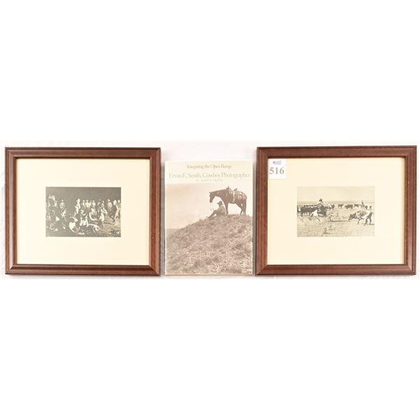 (2) Erwin E. Smith Framed Cowboy Photo Prints