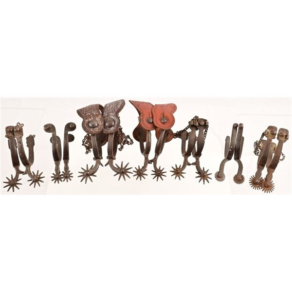 Collection of (7) Unmarked Pairs of Spurs
