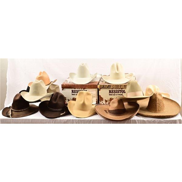 Collection of (13) Cowboy Hats & Sombreros