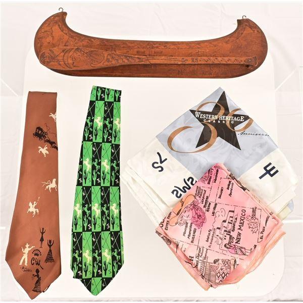 Wooden Tie Rack , Silk Ties and Kerchiefs