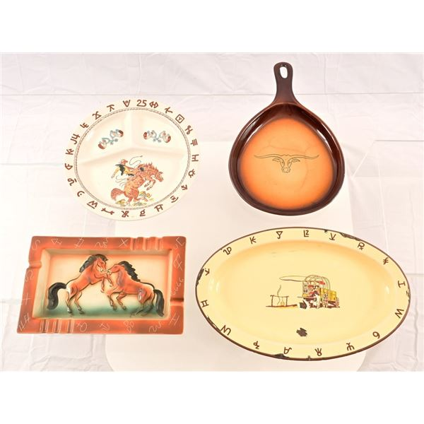 Collection of (4) Cowboy Western Plates & Ashtray