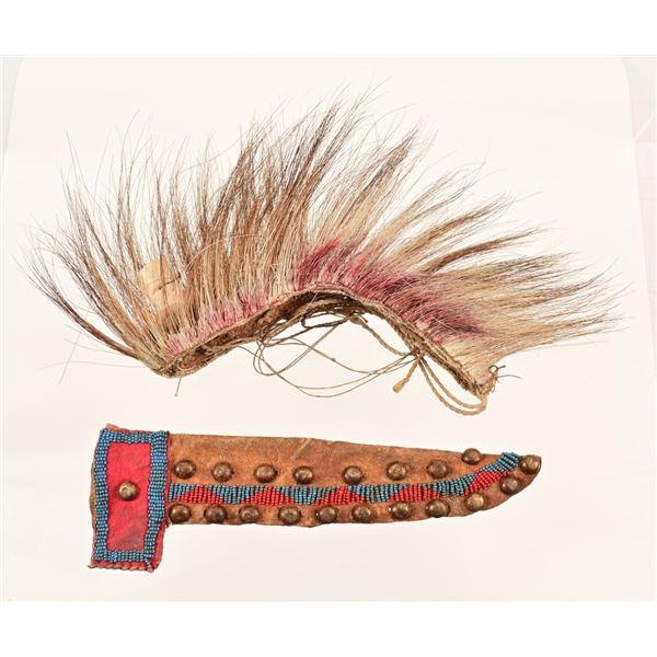 Native American Roach & Beaded Knife Sheath