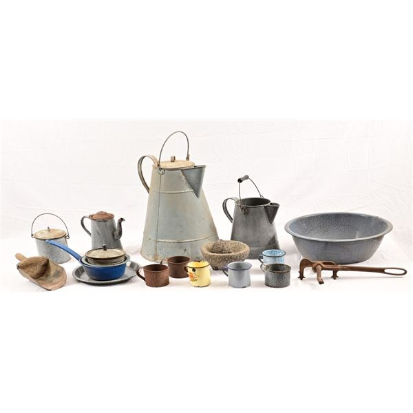 Large Chuck Wagon Coffee Pot & Enamelware