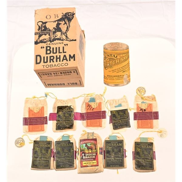 Collection of Vintage Bags of Bull Durham Tobacco