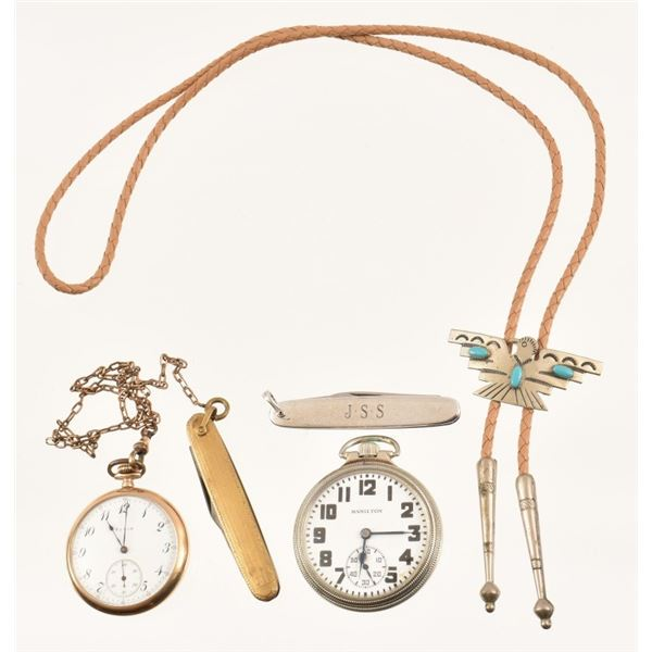 Pocket Watch, Bolo Tie, Knife Collection