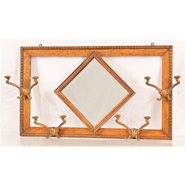 Oak Hat Rack Mirror