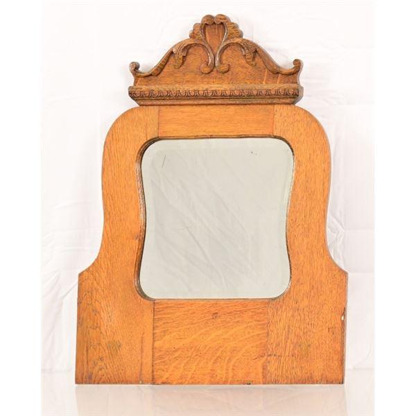 Vintage Wooden Framed Beveled Mirror