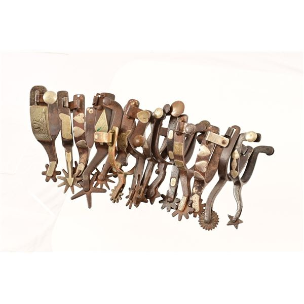 Collection of (14) Antique Single Spurs Kelly Bros