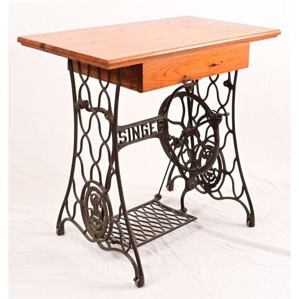 Contemporary Desk w/ Vintage Singer Base