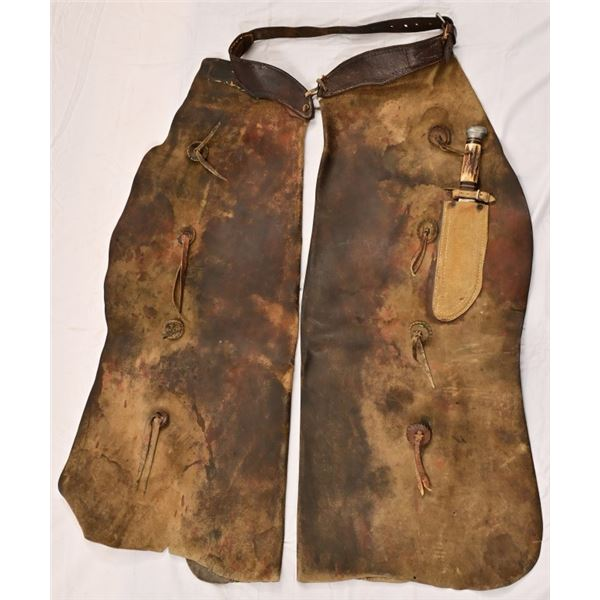 Leather Chaps with Bowie Knife
