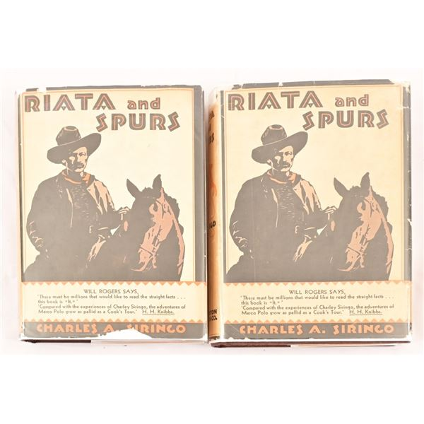 "(2) ""Riata & Spurs"" by Charles S. Siringo"