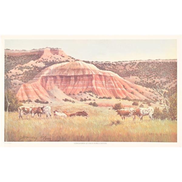 """""""Longhorns at Palo Duro Canyon"""" Print"""