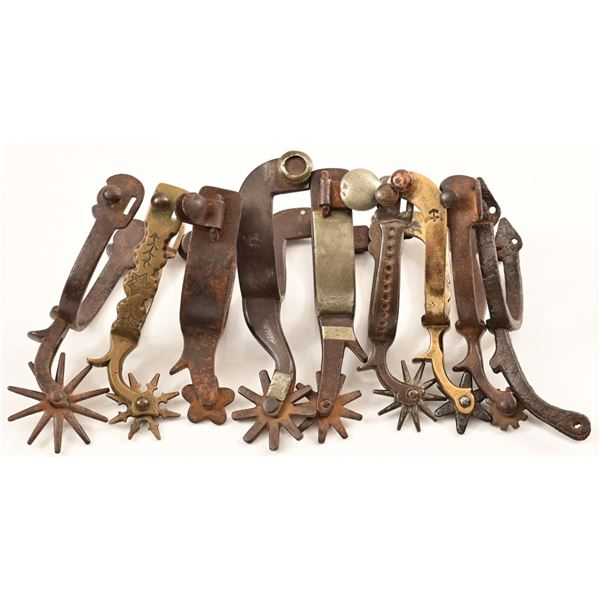 Collection of (9) Single Spurs