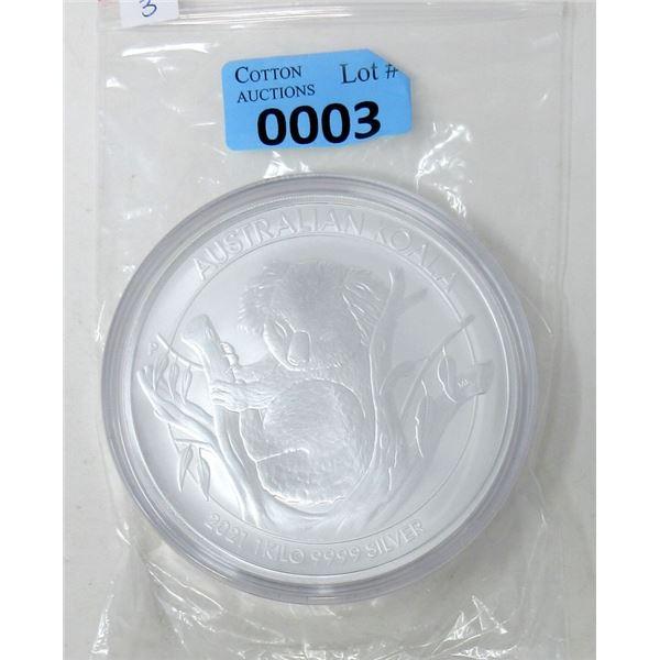 1 KG .9999 Fine Silver 2021 Australian Koala Coin