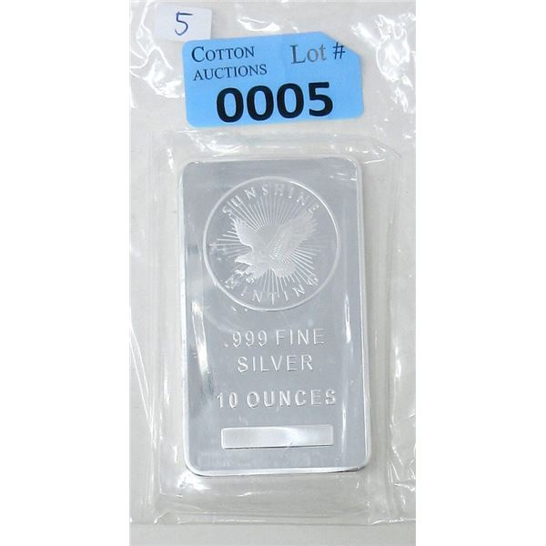 10 Oz. Sunshine Minting .9999 Fine Silver Bar