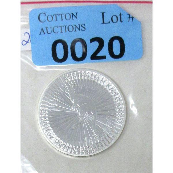 1 Oz .9999 Fine Silver 2020 Kangaroo Coin