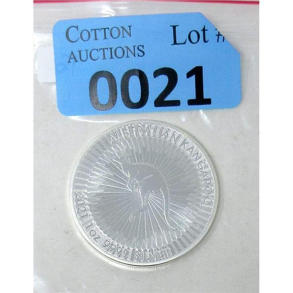 1 Oz .9999 Fine Silver 2021 Kangaroo Coin