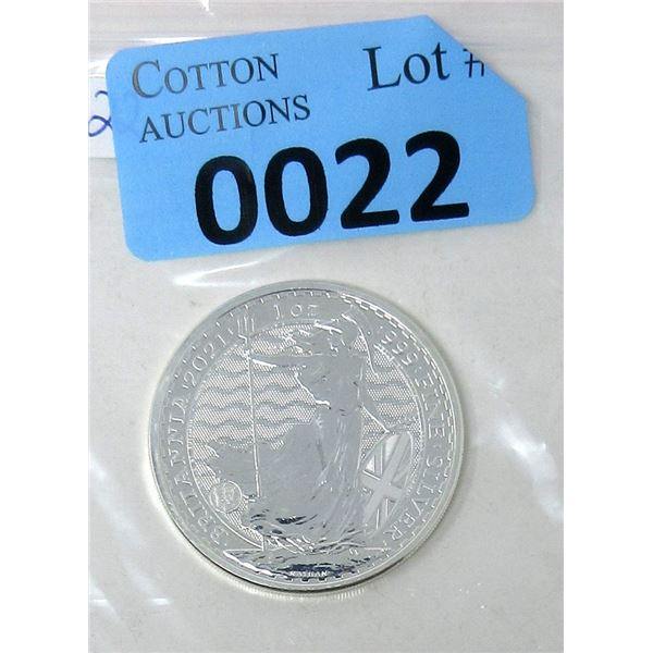 1 Oz .9999 Fine Silver 2021 UK Mint Britannia Coin