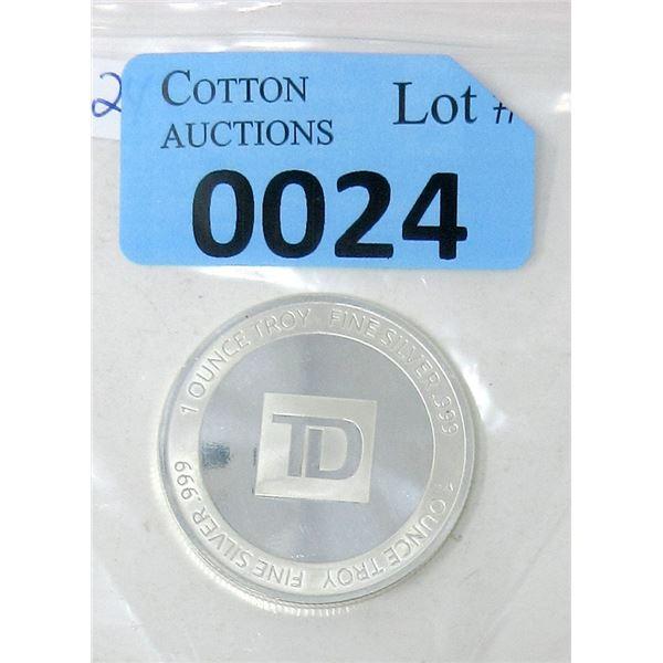 1 Oz .999 Fine Silver TD Bank Investor Round